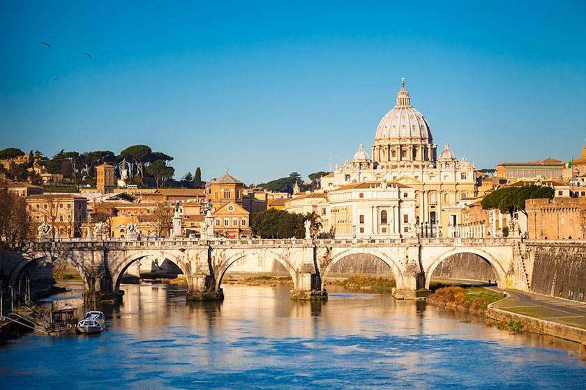 Tiber and St. Peter's cathedral, Rome